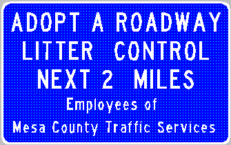 Adopt a roadway sign